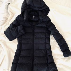 Uniqlo Mid-Length Black Down Coat with Hood, XS